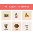 colorful icons of fast and healthy snacks vector image vector image