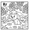 coloring book colorless alphabet letter r rabbit vector image vector image