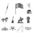 country mongolia monochrome icons in set vector image