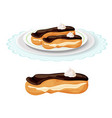 creamy soft delicious eclair covered vector image