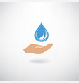 drop icon in hand silhouette on a white vector image vector image