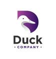 duck logo design letter d vector image