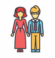 family woman and man avatars concept line vector image