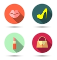 Flat icons with womens accessories vector image vector image