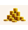 gold coins isolated on white realistic theme vector image vector image