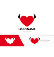 heart and horns logo combination evil love vector image