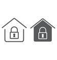 home lock line and glyph icon real estate vector image vector image