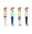 man stands in profile in casual summer outfits set vector image vector image