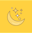 moon night star weather space flat line filled vector image vector image