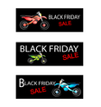 Motorcycle on Three Black Friday Sale Banners vector image vector image
