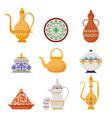 oriental crockery with arabic script set syrian vector image vector image