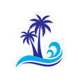palm wave travel logo vector image vector image