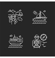 popular vacation activities chalk white icons set vector image