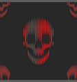 red skulls seamless pattern on black background vector image