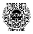 riders club emblem template with biker skull and vector image vector image