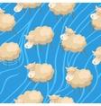 Seamless lambs clouds wallpaper vector image vector image