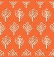 seamless pattern trees white on orange vector image vector image