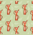 seamless pattern with cute jungle orange tiger vector image vector image