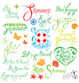 set summer calligraphy 380 vector image vector image