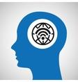 silhouette head globe wireless wifi icon vector image