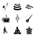 spiritual icons set simple style vector image