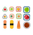 sushi and rolls set isolated on white vector image vector image