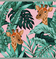 tropical leaves giraffe seamless pattern pink vector image vector image