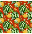 Watercolor watermelon melon pattern vector image vector image