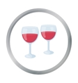 Wine glasses icon in cartoon style isolated on vector image