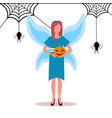 woman wearing magic fairy costume holding pumpkin vector image vector image