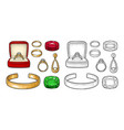 set jewelry vintage color engraving vector image