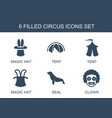 6 circus icons vector image vector image