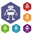 android robot icons set hexagon vector image vector image