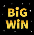 big win banner golden text dollar sign gold coin vector image vector image