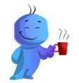 blue cartoon caracter with a cup on white vector image vector image