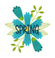 blue flower with spring lettering decoration vector image
