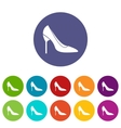Bride shoes set icons vector image vector image
