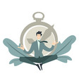 businessman meditating in lotus position and vector image