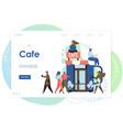 cafe website landing page design template vector image