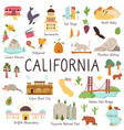 california big set landmarks monuments symbols vector image vector image
