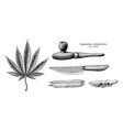 cannabis collection hand draw vintage clip art vector image vector image