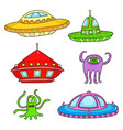card with space objects ufo rockets aliens and vector image