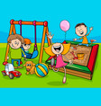 cartoon children characters on playground vector image vector image