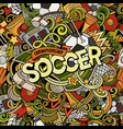 cartoon cute doodles hand drawn soccer vector image vector image