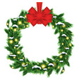 christmas wreath with green fir branch and red vector image vector image
