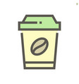 coffee in plastic cup icon design for food vector image vector image