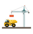 construction cargo truck and crane vector image