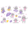 cute adorable hippo girl with bow in different vector image