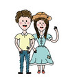 cute brazilian couple with hairstyle and typical vector image vector image
