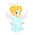 cute cartoon angel holding a star vector image vector image